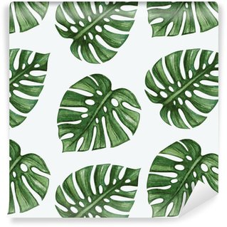 Pixerstick Papel Pintado Watercolor tropical palm leaves seamless pattern. Vector illustration.