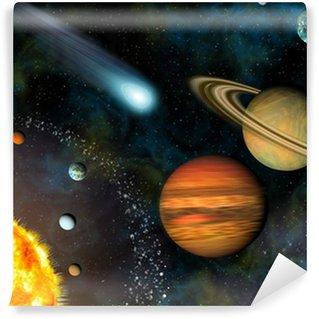 Papier Peint Vinyle 3D Solar System Wallpaper contient le Soleil et les neuf planètes.