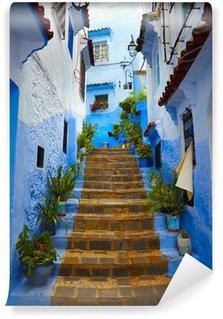 Papier Peint Vinyle A l'intérieur du Maroc bleu ville médina de Chefchaouen