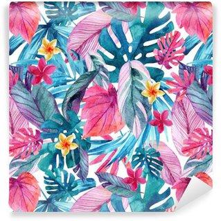 Papier Peint à Motifs Vinyle Aquarelle feuilles exotiques et fond de fleurs.
