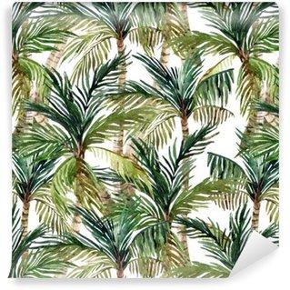 Papier Peint à Motifs Vinyle Aquarelle palmier seamless