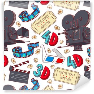 Papier Peint à Motifs Vinyle Attributs de cinéma sans couture