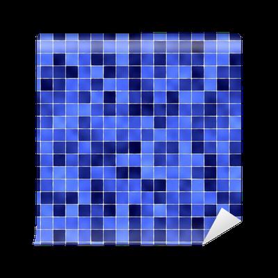Papier peint motifs carreaux de salle de bain bleu for Carreaux salle de bain bleu