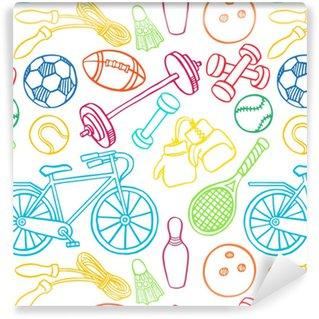 Papier Peint à Motifs Vinyle Équipement de sport multicolore sans couture