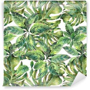 Papier Peint à Motifs Vinyle Été exotique aquarelle seamless pattern