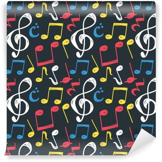Papier Peint à Motifs Vinyle Fond de note de musique