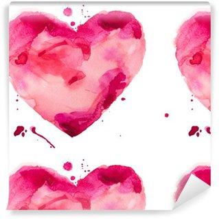 Papier Peint à Motifs Lavable Coeur d'aquarelle. Concept - l'amour, les relations, l'art, la peinture