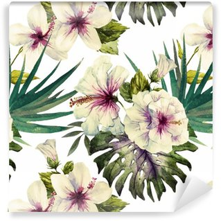 Papier Peint à Motifs Lavable Motifs Aquarelle d'hibiscus