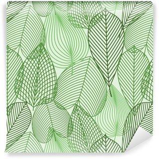 Papier Peint à Motifs Lavable Printemps feuilles vertes seamless
