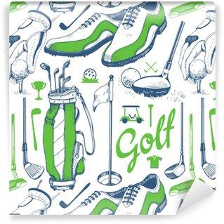 Papier Peint à Motifs Vinyle Modèle de golf sans couture avec panier, chaussures, voiture, putter, balle, gants, drapeau, sac. jeu de l'équipement de sport dessinés à la main vectorielles. illustration dans le style de croquis sur fond blanc.
