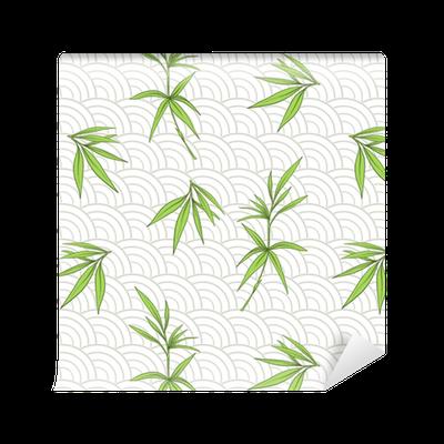papier peint motifs mod le sans couture avec des feuilles de bambou et des branches en sty. Black Bedroom Furniture Sets. Home Design Ideas