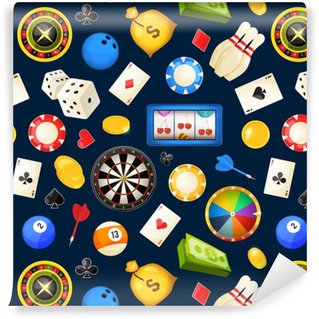 Papier Peint à Motifs Vinyle Modèle sans couture avec le jeu et d'autres divertissements de casino. poker, dés illustrations vectorielles