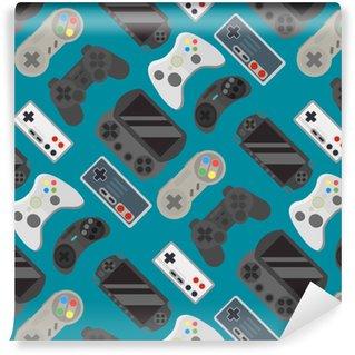 Papier Peint à Motifs Vinyle Modèle sans couture coloré de gamepad