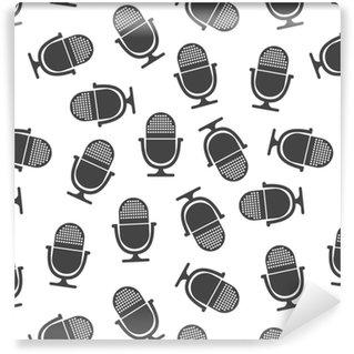 Papier Peint à Motifs Vinyle Modèle sans couture de microphone. pictogramme de microphone de concept commercial. illustration vectorielle sur fond blanc.