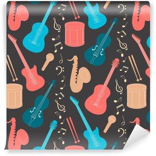 Papier Peint à Motifs Vinyle Modèle sans couture musicale
