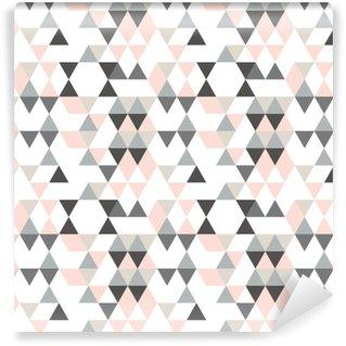Papier Peint à Motifs Vinyle Motif abstrait géométrique avec des triangles dans des couleurs rétro en sourdine.