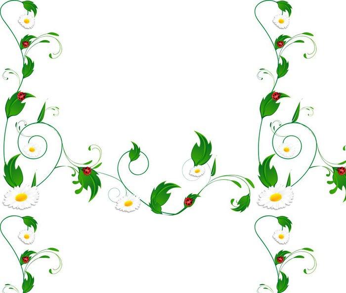 Papier Peint à Motifs Vinyle Pâquerettes et coccinelles - Fleurs