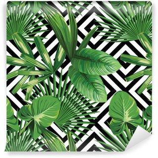 Papier Peint à Motifs Vinyle Paume tropical feuilles modèle, fond géométrique