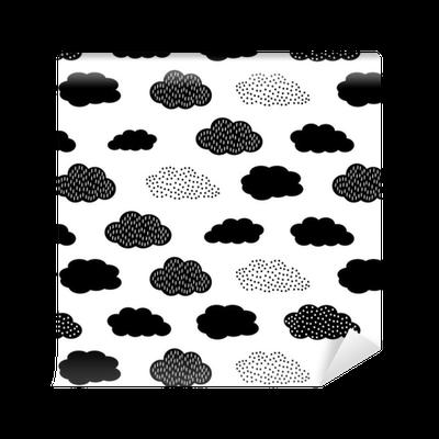 papier peint motifs seamless noir et blanc avec des nuages cute baby douche vector background. Black Bedroom Furniture Sets. Home Design Ideas