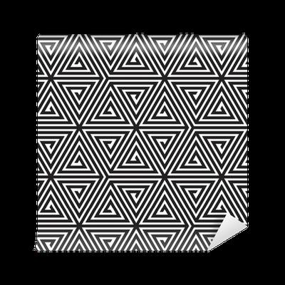 Papier peint motifs triangles noir et blanc motif - Papier peint geometrique triangles noir et blanc gris ...