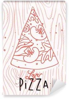 Papier Peint Vinyle Affiche amour tranche de pizza