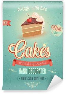Papier Peint Vinyle Affiche vintage de gâteaux.