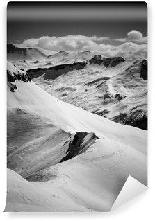 Papier Peint Vinyle Alpes - noir et blanc