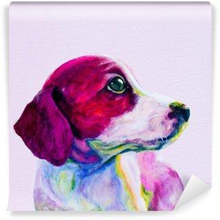 Papier Peint Vinyle Amis Portrait d'un jeune chien, chiot dans des couleurs au néon. Regarder et la nostalgie de l'attention