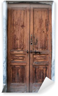 Papier Peint Vinyle Ancien image en bois de porte de couleur