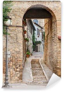 Papier Peint Vinyle Ancienne allée à Bevagna, Italie