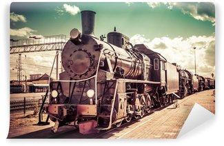 Papier Peint Vinyle Ancienne locomotive à vapeur, train vintage.