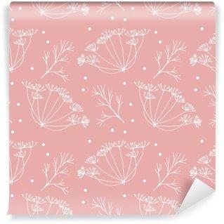 Papier Peint Vinyle Aneth ou fenouil fleurs et feuilles de motif.