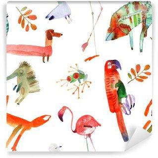 Papier Peint Vinyle Animaux d'aquarelle mis