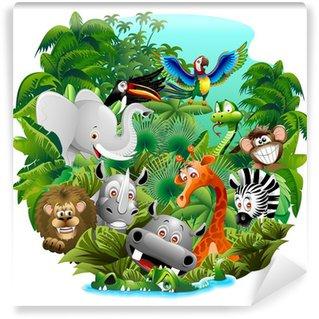 Papier Peint Vinyle Animaux sauvages sur Cartoon Jungle Jungle animaux sauvages