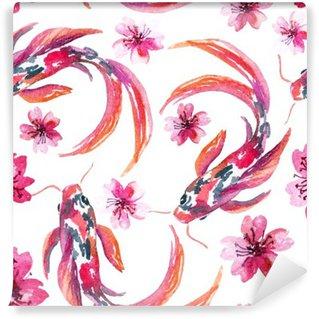 Papier Peint Vinyle Aquarelle asiatique poissons koi