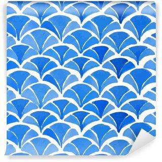 Papier Peint Vinyle Aquarelle bleu motif japonais.