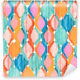 Papier Peint Vinyle Aquarelle ikat seamless pattern. Vibrant losange ethnique.