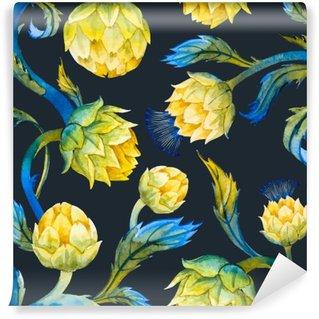 Papier Peint Vinyle Art Aquarelle motif nouveau d'artichaut