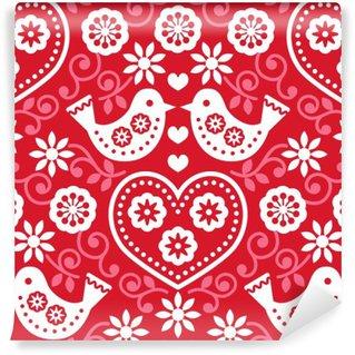 Papier Peint Vinyle Art populaire rouge seamless pattern avec des fleurs et des oiseaux