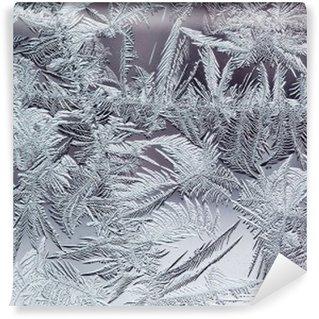 Papier Peint Autocollant Beau motif givré d'hiver en cristaux transparents fragiles sur le verre