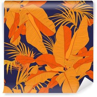 Papier Peint Autocollant Trendy tissu tropical seamless, paume feuilles rouges sur fond bleu marine, illustration vectorielle