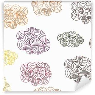 Papier Peint Autocollant Vector Seamless Pattern with Autumn Doodle Clouds