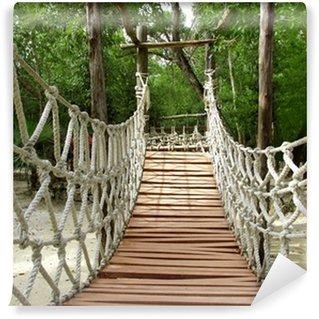 Papier Peint Vinyle Aventure pont de bois suspendu corde jungle