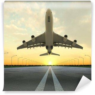 Papier Peint Vinyle Avion au décollage à l'aéroport au coucher du soleil