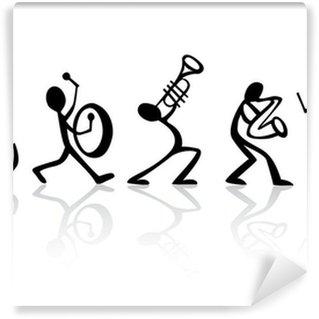 Papier Peint Vinyle Band musiciens jouant de la musique, idéal vecteur de t-shirts