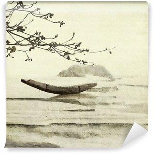 Papier Peint Vinyle Bateau de pêche et d'amande Contexte Arbre d'art