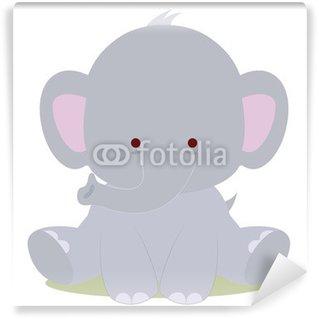 Papier Peint Vinyle Bébé éléphant mignon, le style kawaii
