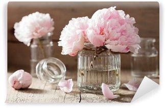 Papier Peint Vinyle Belles fleurs de pivoine rose bouquet dans le vase