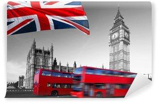 Papier Peint Vinyle Big Ben avec bus de la ville et le drapeau de l'Angleterre, Londres