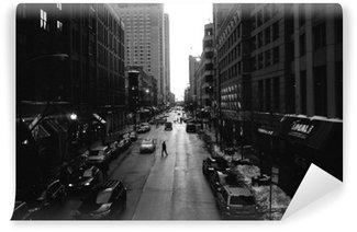 Papier Peint Vinyle Blanc Chicago Rues Noir et